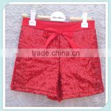 Fashion red sequin baby shorts with satin bow baby pants for dancing wear summer kids shorts colorful girl's short pants