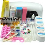 9W Dryer Lamp Tube UV Gel Kit Brush Buffer Guides Toe Seperator Glitter Powder Liquid Tools Nail Tips Glue DIY Kit
