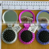 FOLDABLE MIRROR WHICH CAN BE USED AS TWO TOOLS/MINI SIZE MIRROR HAIR BRUSH/PLASTIC MIRROR BRUSH