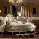 Luxury wooden carving round bed for villa hotel