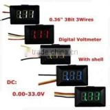"0-33V with shell Voltage 3wire 3bit 0.36"" DC Digital Voltmeter"