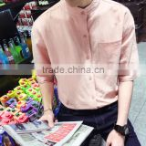 zm40279b wholesale linen fabric summer men's shirts breathable casual short sleeve shirt