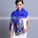 2015 NEW style100% Wool high quality elegant peacock scarf shawl