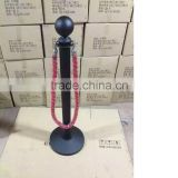 All Black Stainless Iron metal hotel queue Barriers with rope round ball head indoor used