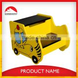 New Design Yellow Car wooden foot step stool for kids