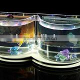 mini double semi-circle divider/B shaped design acrylic fish aquarium tank,fish bowl with back picture frame display