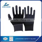 CE Certification 13G seamless nylon industrial Black latex Coated top Safety Handjob Gloves