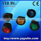 YL3-19 round black waterproof 2 pin kcd1-102 rocker switch