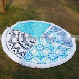 Wholesale Blanks Round Cotton Assorted Color Graphic Paisley Pattern Beach Cashion Beach Towel with Tassels Circle