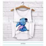 2015 Wholesale Women Summer Short Sleeve Logo Print Custom Made of 100% Acrylic burnout tank top                                                                         Quality Choice