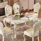 Gold painted hand carving baroque royal dining table set in white