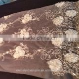 Cheap flower pattern sequin beaded flower embroidery fabric for dress