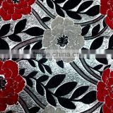 100 Polyester jacquard chenille leaf floral sofa fabric for upholstery                                                                                                         Supplier's Choice