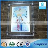 Acrylic transparency led crystal slim advertising lightbox