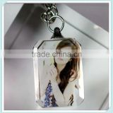 New Promotional Rectangle 3d Laser Photo Crystal Keychain Christmas Gifts for Girls&boys                                                                         Quality Choice