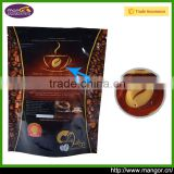 CIF Price High Quality PET / Pure Aluminum Foil Stand Up Coffee Plastic Bag With Valve Clear Window Zip Lock Tear Notch