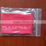 individual packing PE self sealing bag red microfiber cleaning cloth white silk screen printing