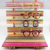 colorful bamboo wood sunglasses counter display stand; display shelf