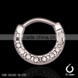 Fashion Trend 100% Full 316L Stainless Steel Multi Paved Crystal Gems Silver Nose Ring Piercing