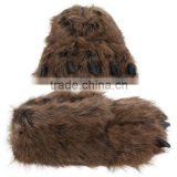 plush cute Grizzly Bear Paw Slippers for Kids, Women and Men
