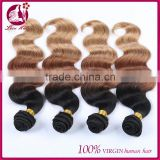 Ombre natural color brown light color virgin malaysian hair body wave human hair extensions