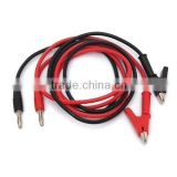 4mm 1M Injection Banana Plug To Shrouded Copper Alligator Clip Test Cable Leads