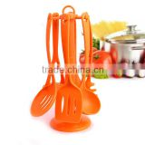 2016 New Desig Orange Nylon Kitchen Utensil Set with Rotating Holder Of Nylon Cooking Tools