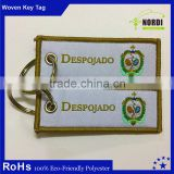 cheapest and best quality embroidery twill key chain /laser cut key tag