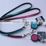 Wholesale multi color badge holder crystal necklace rhinestone lanyard