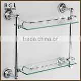 American style Direct Marketing Factory Zinc alloy Chrome plated Bathroom accessories Wall mounted Glass Tier Shelf
