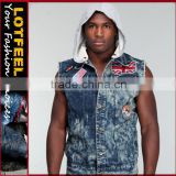 Men's Clothing Cheap Fashion Online denim jacket denim vest with hoody jean vest hoodie(LOTJ290)