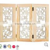 High quality Wooden Tri-Fold Floral Screen