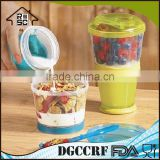 NBRSC Dispenser/Milk/Snack Cup With Food Grade Cereal To Go With Spoon For Available Colors