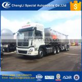 CLW integral fuel trailer towed by tractor horse Dongfeng 350hp truck with 2 axle 37000 liters aluminum tank fuel semi trailer