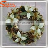 China factory cheap indoor artificial flowers for wreaths wreath frame artificial boxwood flower wreath for sale home decoration