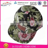 Custom Leather Patch Printed Flat Brim Floral 5 Panel Snap Back Hats
