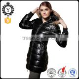COUTUDI shiny black California oversized fur lined hooded young women's long outerwear jacket
