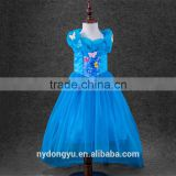 girl blue butterfly princess dress/kuyin g young girl flower printed princess dress/new design girl holiday fashion dress