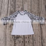 Autumn latest wholesale gray with white and have many icing ruffles raglan T-shirts online shopping hong kong