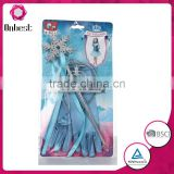 New design Frozen glove set with princess tiara& wand set for baby girls fancy frozen accessories