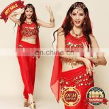 BestDance Sexy Belly Dance Costume Beads Bells Top+Shinny Sequin Balloon Bloomers trouser