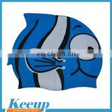 Hot sale silicone material round waterproof cartoon swimming cap for children