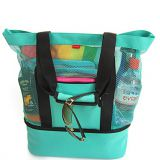 Mesh beach tote bag with zipper tote and insulated picnic cooler bag