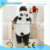 panda shaped one-piece hooded baby clothes rompers with flannel fabric