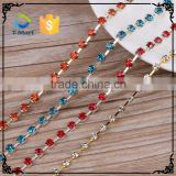 Wholesale hotfix rhinestone plastic colored black crystal bead chain