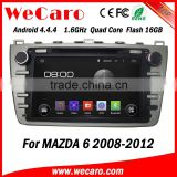 "Wecaro Android 4.4.4 car dvd player 8"" touch screen for mazda 6 car radio cd mp3 usb radio gps A9 1.6ghz cpu 2008-2012"