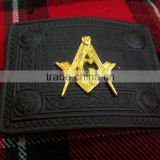Masonic Design Kilt Belt Buckle In Black Finished With Gold Masonic Badge Made Of Brass Material