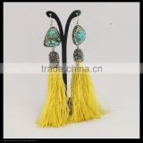 LFD-080E fashion tassel long earrings, turquoise & tassel dangle hook earrings,crystal rhinestone pave charm earring for women
