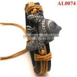 Minority Jewelry, Tibetan Wristband, Alloy genuine leather bracelet with a flying fish in wax cord AL0074