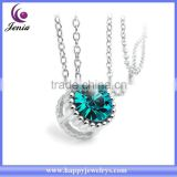Cute blue crystal round pendant wholesale 18k gold plated new model necklace chain (YWN5059-4)